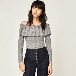 ZARA WB COLLECTION Off the Shoulder Knit bodysuit